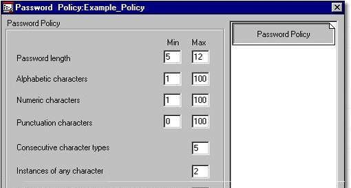 Example PPM policy screen shot